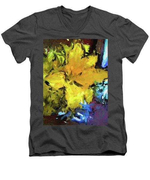 Yellow Flower And The Eggplant Floor Men's V-Neck T-Shirt