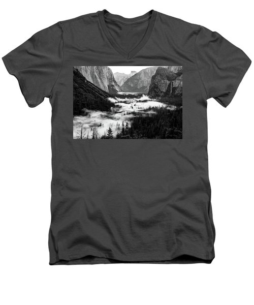 Men's V-Neck T-Shirt featuring the photograph Yosemite Fog 2 by Stephen Holst