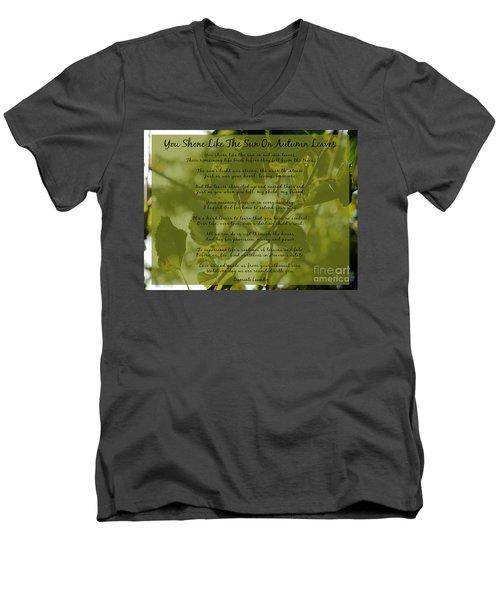 You Shone Like The Sun On Autumn Leaves Poem Men's V-Neck T-Shirt