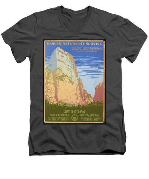 Zion National Park Ranger Naturalist Service Vintage Poster Men's V-Neck T-Shirt