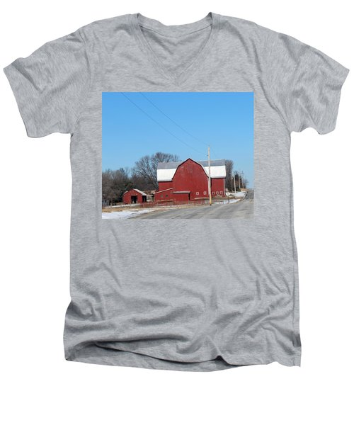 Large Red Barn Men's V-Neck T-Shirt
