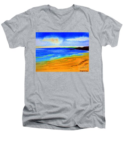 Men's V-Neck T-Shirt featuring the drawing  2 Australian Beach In The Morning Near Cottesloe by Roberto Gagliardi