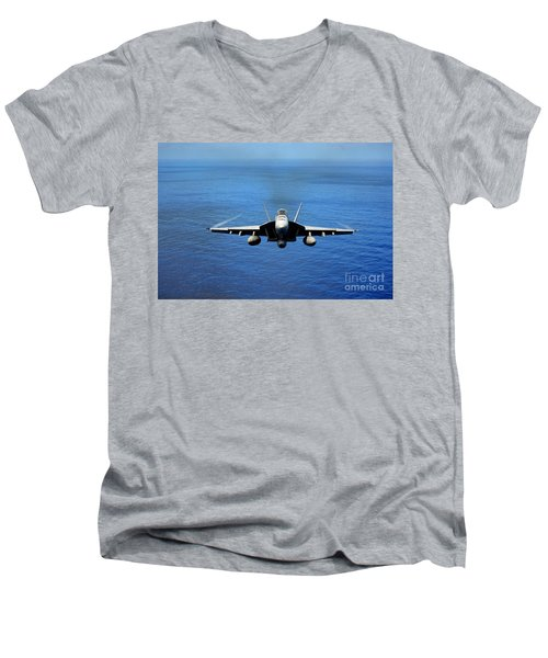 Men's V-Neck T-Shirt featuring the photograph  A Fa-18 Hornet Demonstrates Air Power. by Paul Fearn