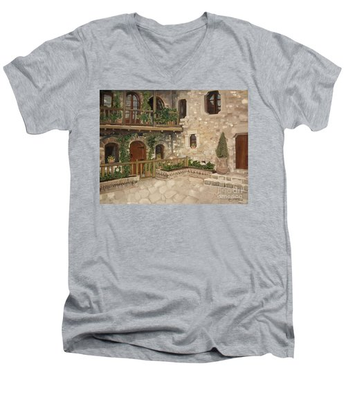 Greek Courtyard - Agiou Stefanou Monastery -balcony Men's V-Neck T-Shirt