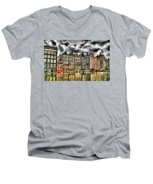 Amsterdam Water Canals Men's V-Neck T-Shirt by Georgi Dimitrov
