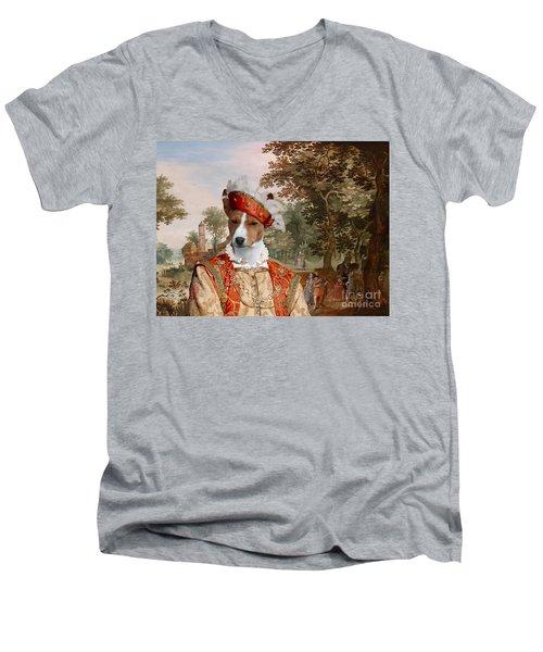Basenji Art Canvas Print Men's V-Neck T-Shirt