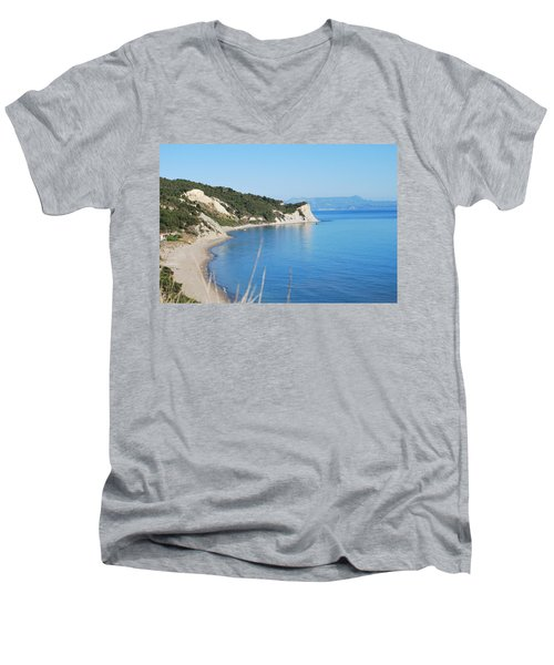 Men's V-Neck T-Shirt featuring the photograph  Beach by George Katechis