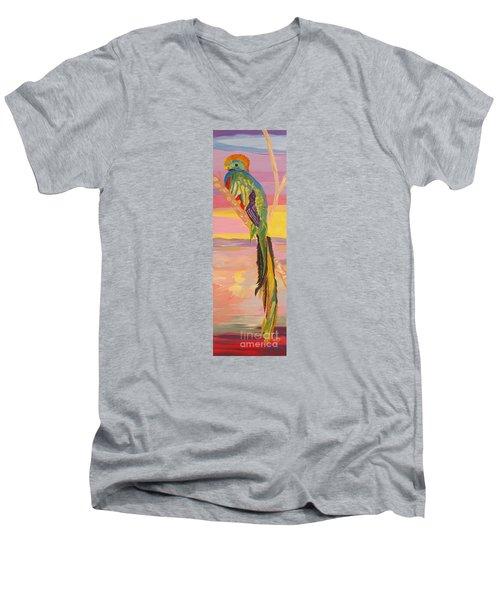 Beautiful Bird Quetzal Must Open  Men's V-Neck T-Shirt by Phyllis Kaltenbach
