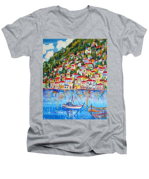 Men's V-Neck T-Shirt featuring the painting  Boats Down South Italy Coast  by Roberto Gagliardi