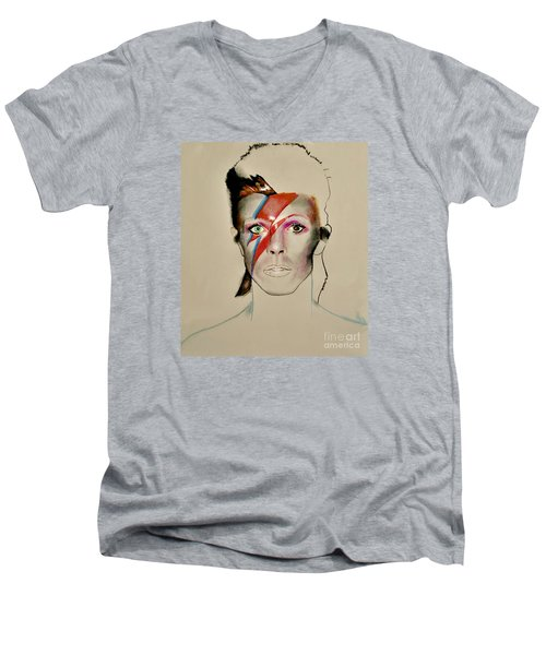 David Bowie Men's V-Neck T-Shirt by Maja Sokolowska