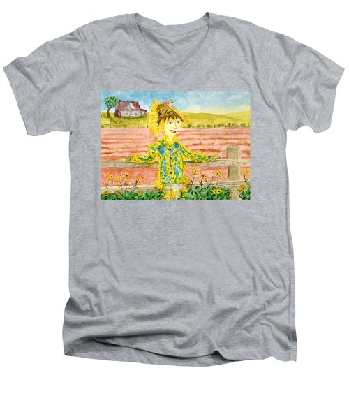 Cheerful Scarecrow Men's V-Neck T-Shirt
