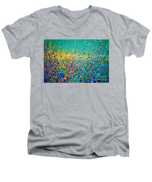 Colorful Flowerscape Men's V-Neck T-Shirt by Maja Sokolowska