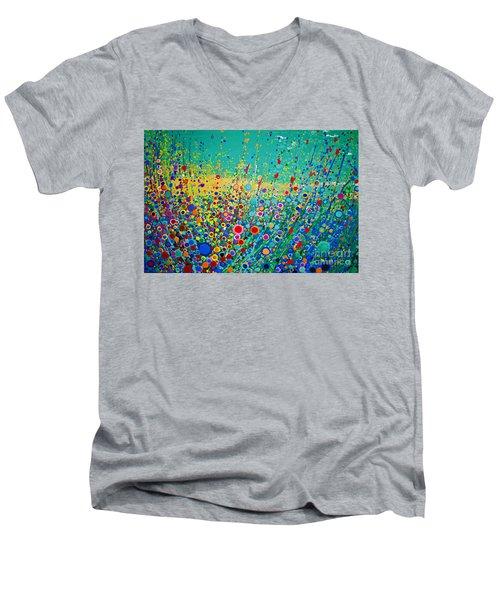 Colorful Flowerscape Men's V-Neck T-Shirt