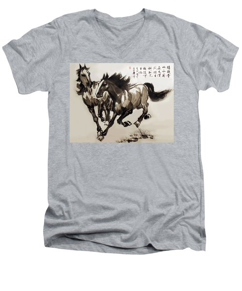 Men's V-Neck T-Shirt featuring the photograph  Companionship by Yufeng Wang