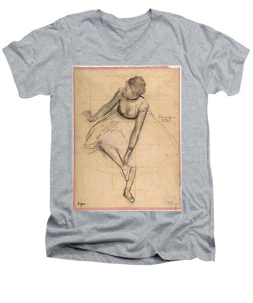 Dancer Adjusting Her Slipper Men's V-Neck T-Shirt by Edgar Degas
