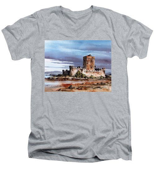 Doe Castle In Donegal Men's V-Neck T-Shirt