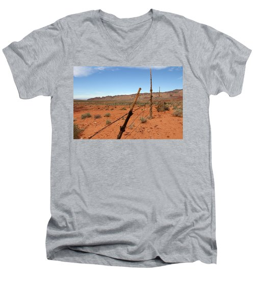 Men's V-Neck T-Shirt featuring the photograph  Don't Fence Me In by Tammy Espino