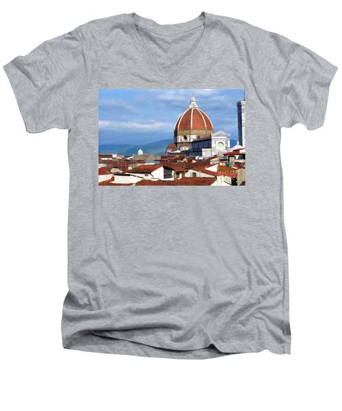 Men's V-Neck T-Shirt featuring the photograph  Duomo Of Florence # 3 by Allen Beatty