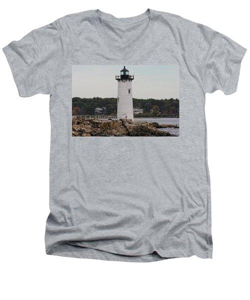 Fort Constitution Light Men's V-Neck T-Shirt by Denyse Duhaime