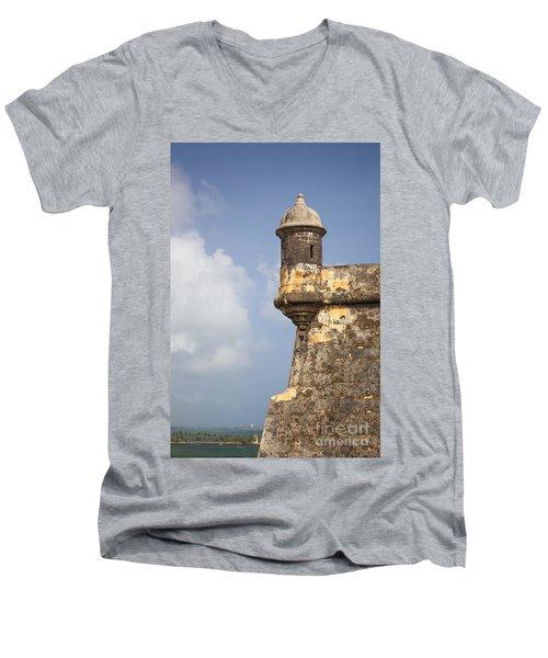 Fortified Walls And Sentry Box Of Fort San Felipe Del Morro Men's V-Neck T-Shirt