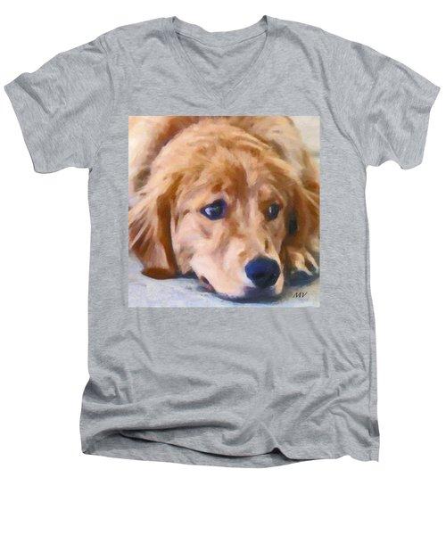 Golden Retriever Dog Men's V-Neck T-Shirt