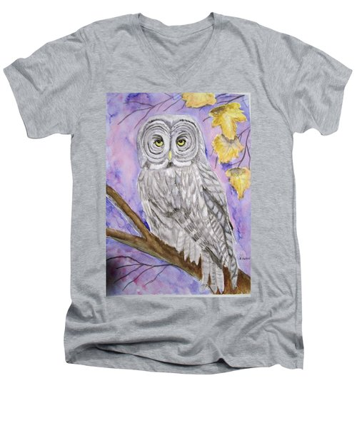 Grey Owl Men's V-Neck T-Shirt by Belinda Lawson