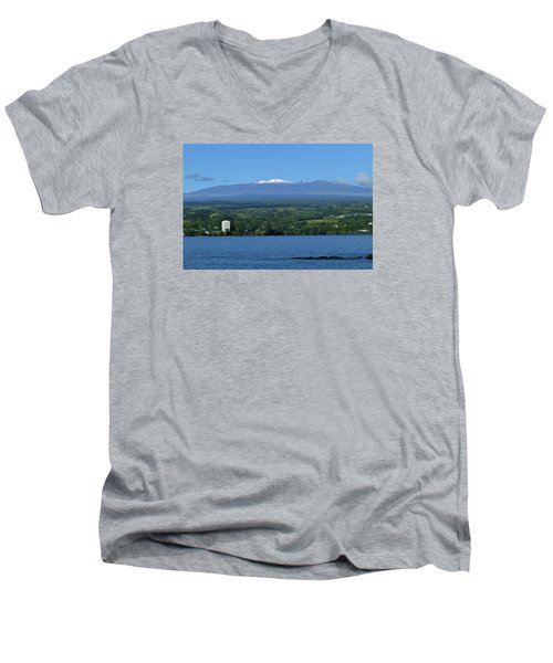 Men's V-Neck T-Shirt featuring the photograph  Hawaii's Snow Above Hilo Bay Hawaii by Lehua Pekelo-Stearns