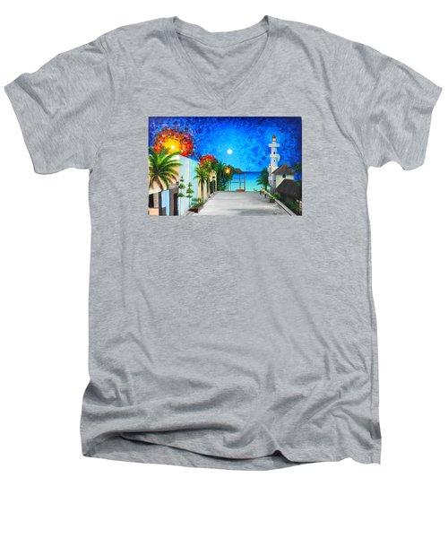 Light House Playa Del Carmen Men's V-Neck T-Shirt by Angel Ortiz