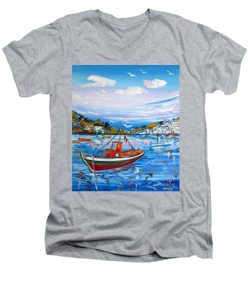 Men's V-Neck T-Shirt featuring the painting  Little Fisherman Boat  by Roberto Gagliardi
