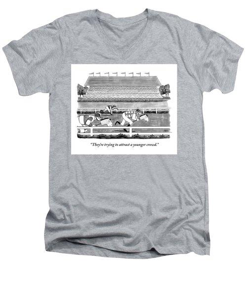 Men Race On Toy Horses Men's V-Neck T-Shirt