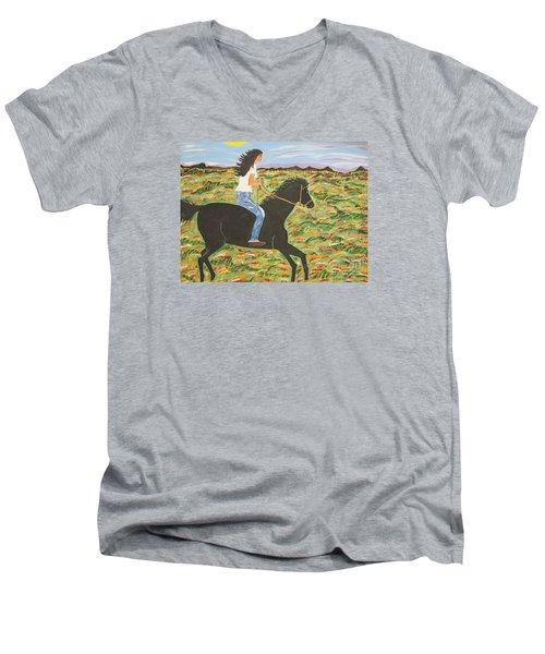 Morning Bareback Ride Men's V-Neck T-Shirt