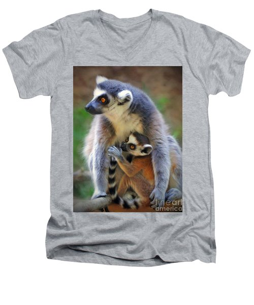 Men's V-Neck T-Shirt featuring the photograph    Mother And Baby Monkey by Savannah Gibbs
