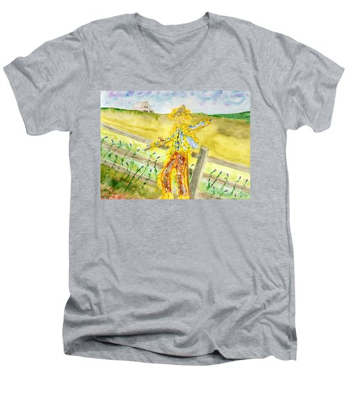 Napping Scarecrow Men's V-Neck T-Shirt