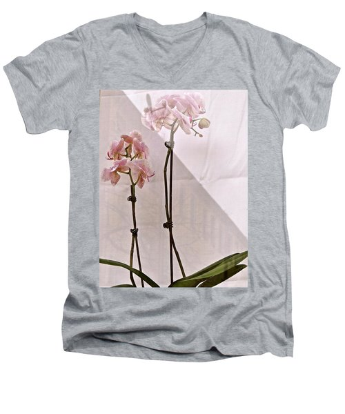 Men's V-Neck T-Shirt featuring the photograph  Orchids In The Window by Ira Shander