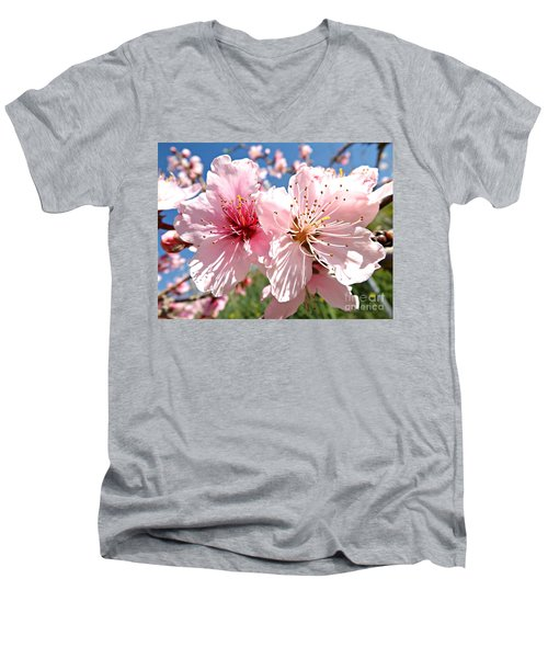 Peach Blossom Men's V-Neck T-Shirt