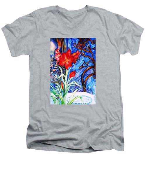 Red Amaryllis  Men's V-Neck T-Shirt by Trudi Doyle