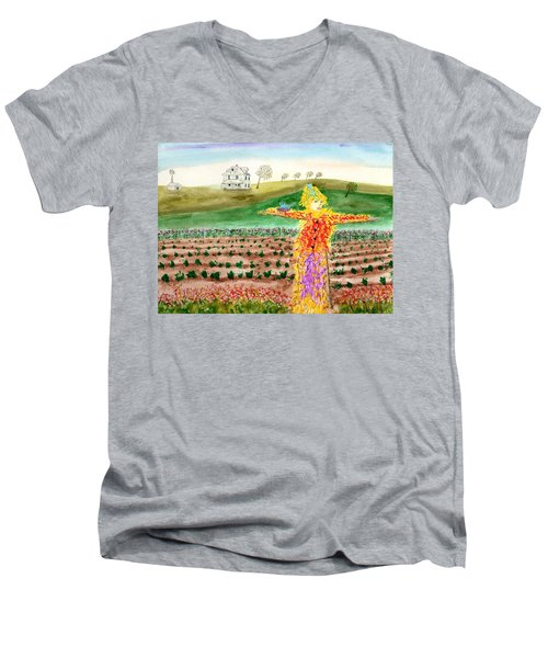 Scarecrow With Nesting Companion Men's V-Neck T-Shirt