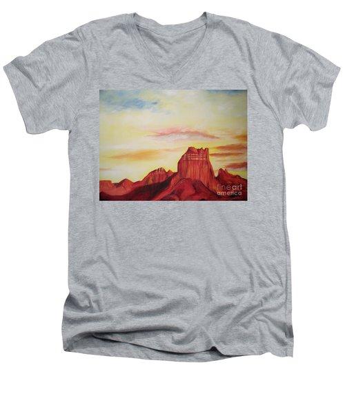 Men's V-Neck T-Shirt featuring the painting  Sedona Az by Eric  Schiabor