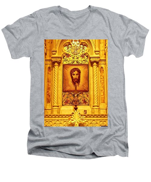 Men's V-Neck T-Shirt featuring the photograph  St. Patrick Nyc  Altar by Joan Reese