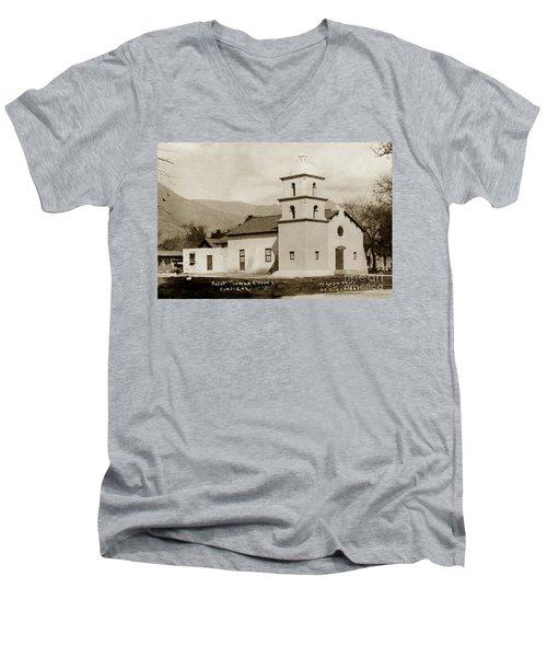 Men's V-Neck T-Shirt featuring the photograph  St. Thomas Aquinas Catholic Church  Ojai Cal 1920 by California Views Mr Pat Hathaway Archives