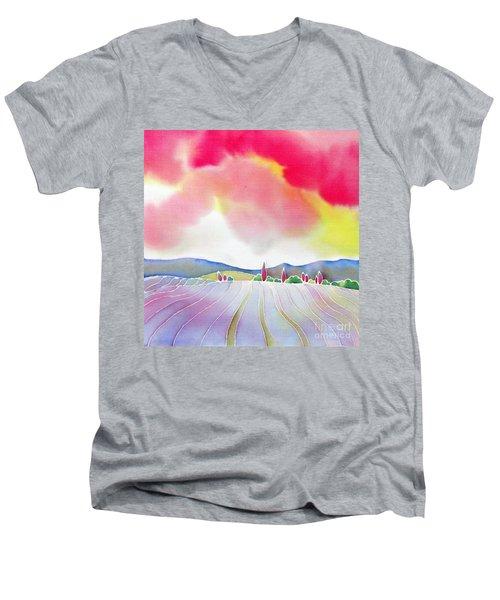 Sunset On The Lavender Farm Men's V-Neck T-Shirt