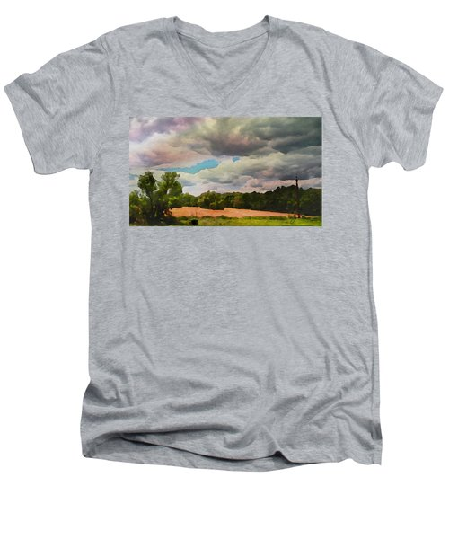 Men's V-Neck T-Shirt featuring the painting  Tennessee Landscape by Joan Reese