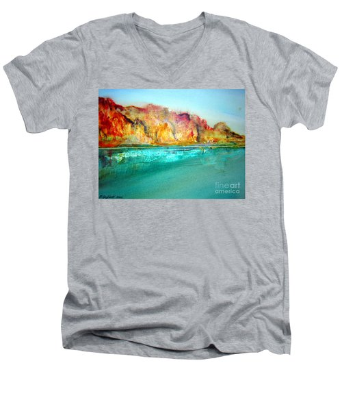 Men's V-Neck T-Shirt featuring the drawing  The Kimberly Australia Nt by Roberto Gagliardi