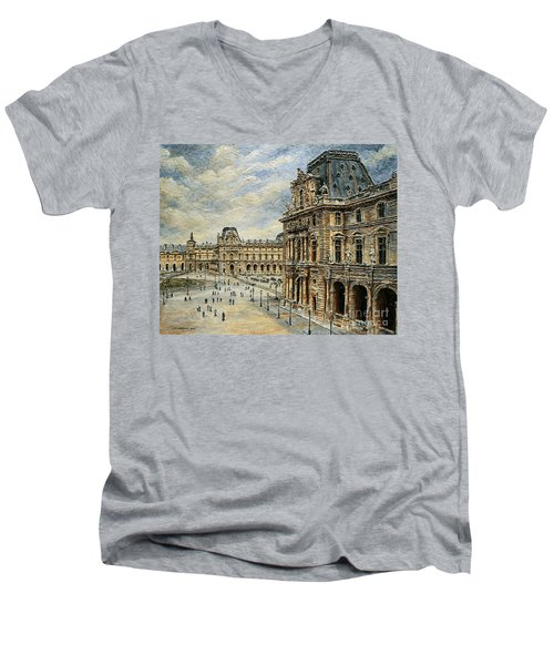 The Louvre Museum Men's V-Neck T-Shirt by Joey Agbayani