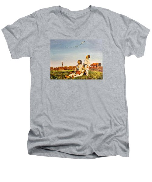 Men's V-Neck T-Shirt featuring the painting End Of The Summer- The Storks by Henryk Gorecki