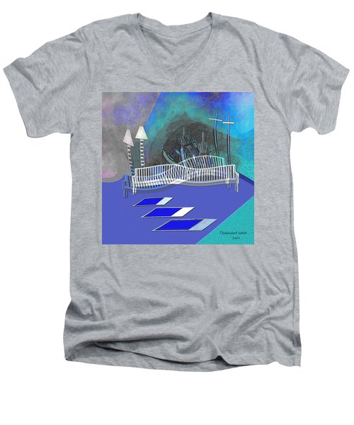 112 This Earthquake Feeling   Men's V-Neck T-Shirt by Irmgard Schoendorf Welch