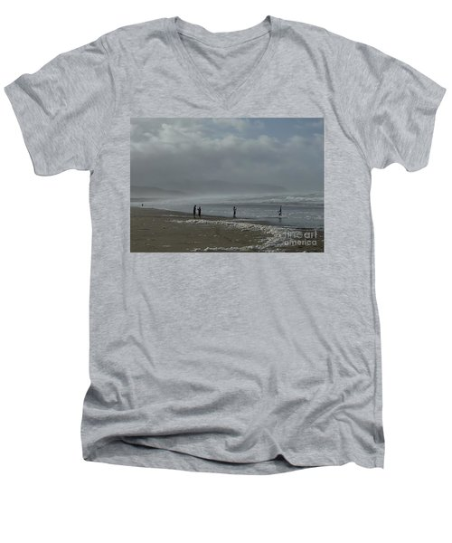 Men's V-Neck T-Shirt featuring the photograph  Wave Handstand  by Susan Garren