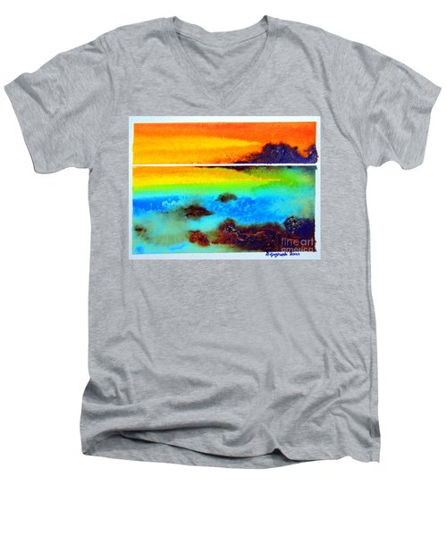 Men's V-Neck T-Shirt featuring the painting  Western Australia Ocean Sunset by Roberto Gagliardi