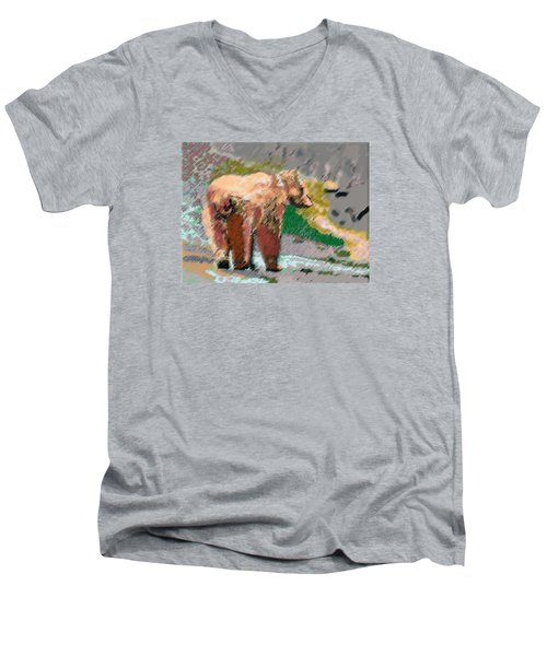 081914 Pastel Painting Grizzly Bear Men's V-Neck T-Shirt by Garland Oldham