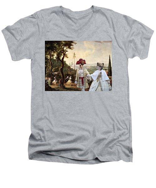 French Bulldog Art Canvas Print Men's V-Neck T-Shirt